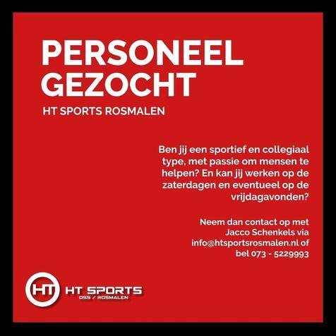 Sponsor HT Sports Rosmalen zoekt personeel!